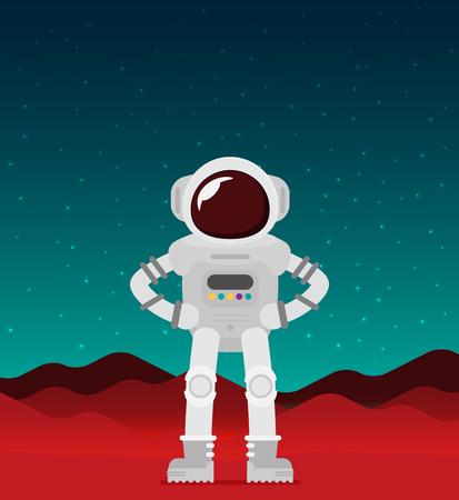 Flat vector astronaut standing on Mars