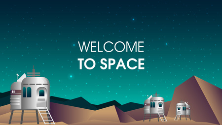Flat vector Mars illustration