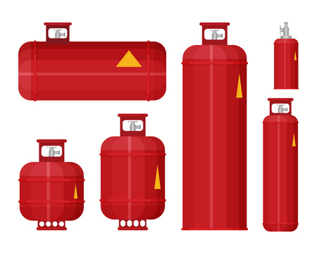 Gas tank set icon in flat style vector. Ilustración de vector