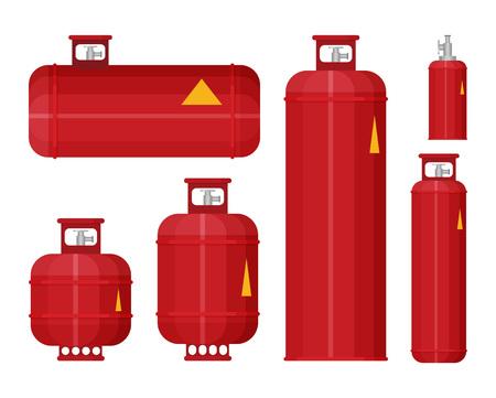 Icono de conjunto de tanque de gas en vector de estilo plano. Ilustración de vector