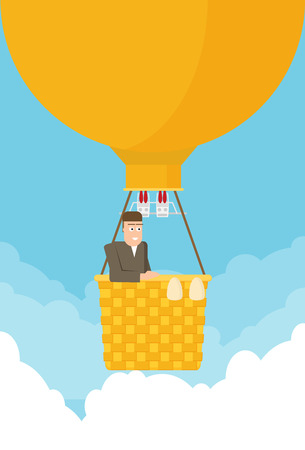 Man in a hot air balloon. Planning summer vacations. Tourism and vacation theme. Flat design vector illustration.  イラスト・ベクター素材