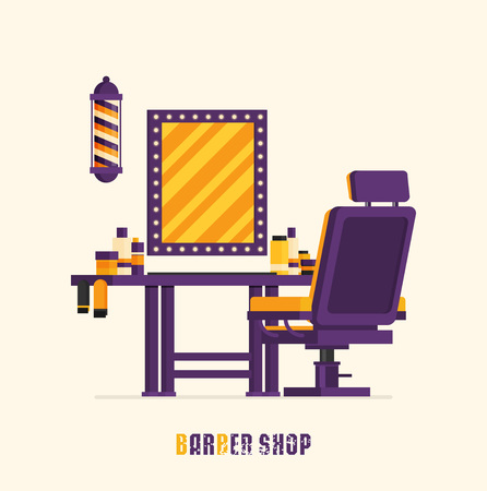Barber shop interior. vector flat design illustration Illustration