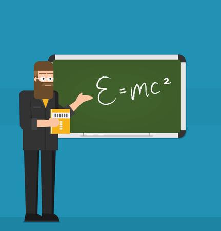 School teacher shows on blackboard. Flat design. Vector illustration.