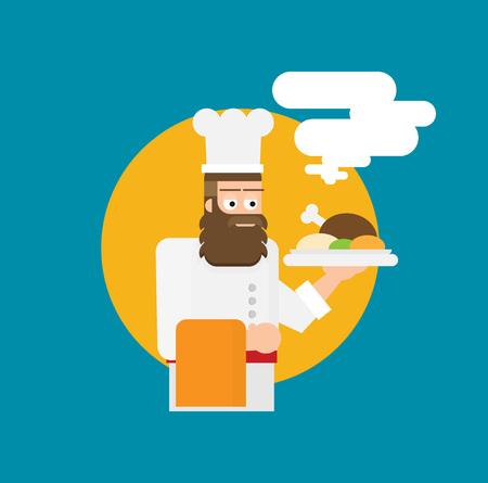 Vector illustration of chef. Flat design