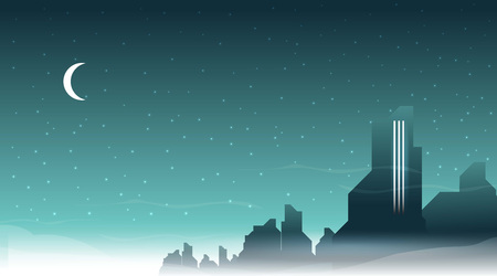 Retro futuristic city vector background Иллюстрация