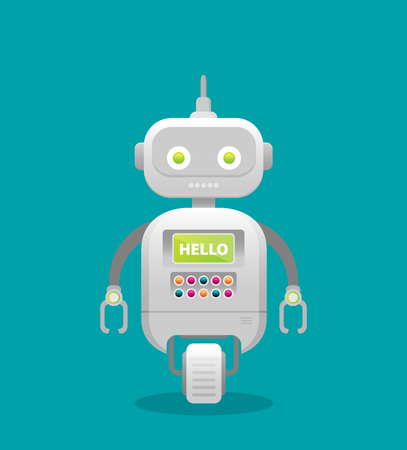 Robot. Customer support service chat bot. Flat vector illustration