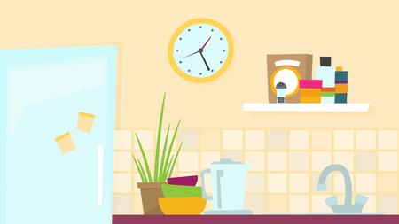 Kitchen flat vector illustration for web and design Illustration