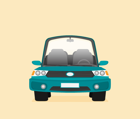 Car front view flat vector