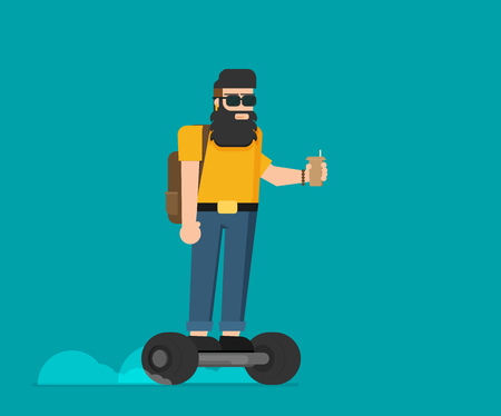 Colorful flat vector hipster on gyroscooter Illustration