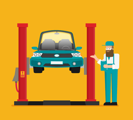 Naprawa samochodów. Samochód podnoszony na podnośniku samochodowym. Wektor