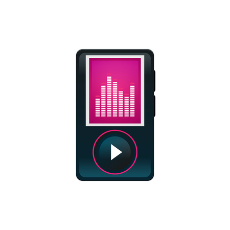 Flat illustration of music player icon isolated on white