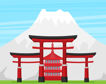 Japanese torii gate, national symbol, traditional structure, flat vector illustration. Flat style Japanese torii gate, national symbol, icon Illustration