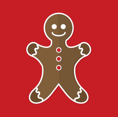 Gingerbread man flat vector Ilustrace
