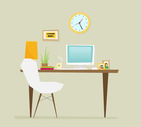 Arbeitsplatz, flaches Design Vektorgrafik