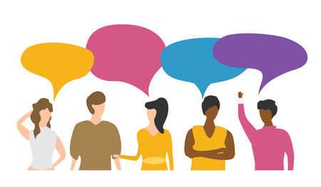 Vector illustration, flat style, people discuss social network, news, social networks, chat, dialogue speech bubbles