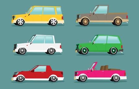 Set of cartoon cars. Flat vector. Иллюстрация