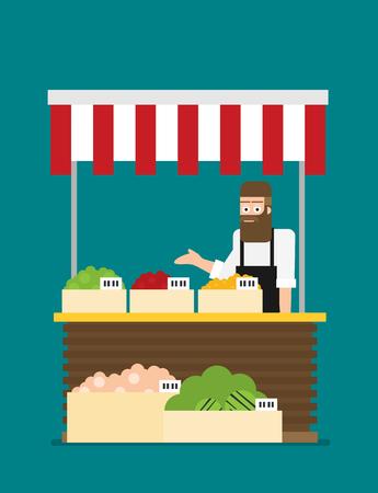 Magasinier de produits. Propriétaire d'un commerce de détail de fruits et légumes travaillant dans son propre magasin. Illustration plate. Vecteur EPS 10.