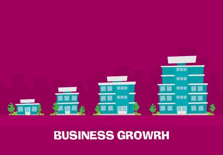 Crecimiento del negocio. Edificios de empresa pequeños, medianos y grandes. Vector plano.