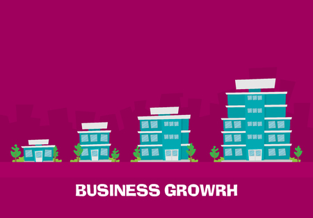 Growth of business. Buildings of company small, middle and big. Flat vector. Çizim