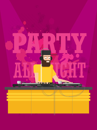 DJ character music. Musical entertainment. Flat vector illustration Vecteurs