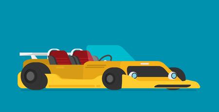 Custom racing car flat style vector illustration