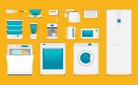Flat icons for kitchen appliances.