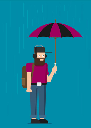Young man with umbrella. Vector background