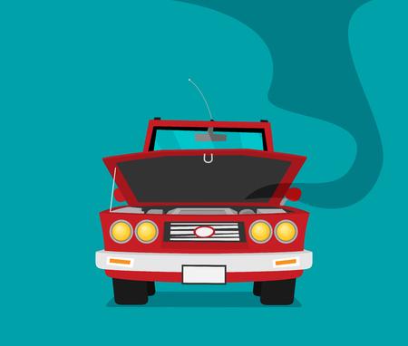 Broken car. Vector cartoon flat illustration Illustration