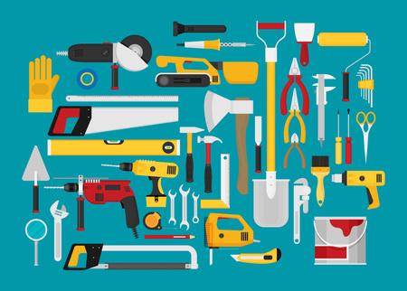 Reparatur- und Bauillustration mit Arbeitswerkzeugikonen.