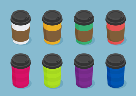 Coffee cups isometric vector icon for web design set