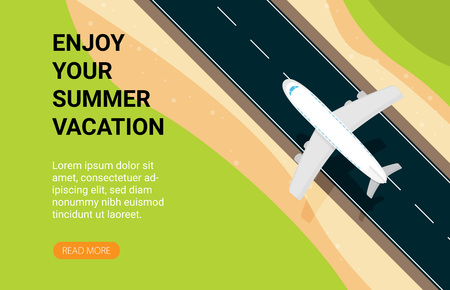 Travel vector illustration in a flat style.World travel banner.Air tourism.Summer holidays, vacation. Illustration