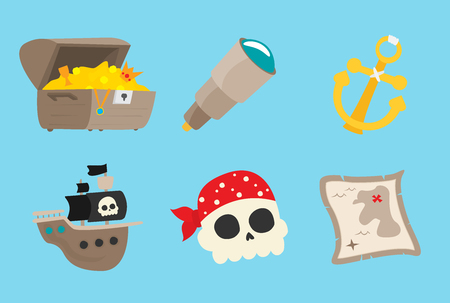 Pirate accessories symbols flat icons collection with wooden treasure chest and jolly roger abstract vector illustration
