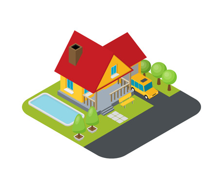 Isolated isomatic small house, Vector Property Set