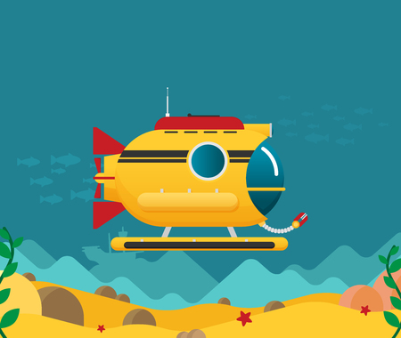 Submarine under water concept vector flat illustration 矢量图像