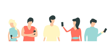 People with gadgets flat vector 向量圖像