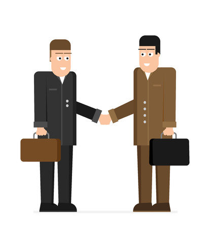 Two business men shaking hands to seal a deal . Partnership. Flat vector iilustration.