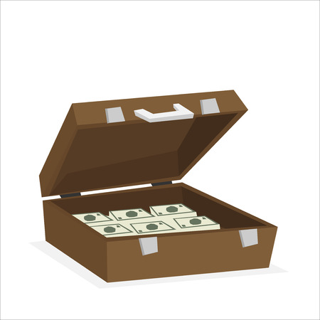 Caso pieno di soldi isolato su sfondo. Illustrazione vettoriale Vettoriali