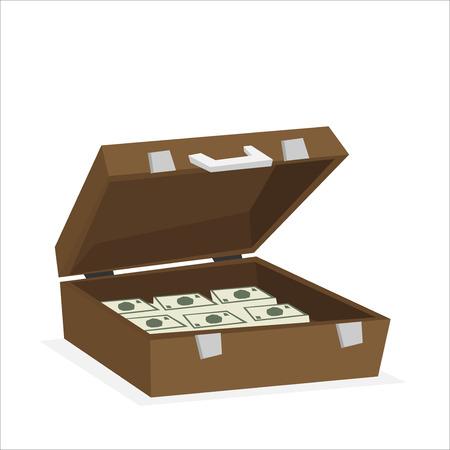 Koffer vol geld geïsoleerd op de achtergrond. vector illustratie Vector Illustratie