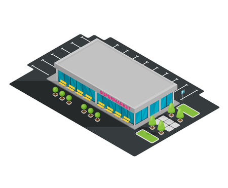 Supermarket building facade isometric flat vector illustration. Illustration