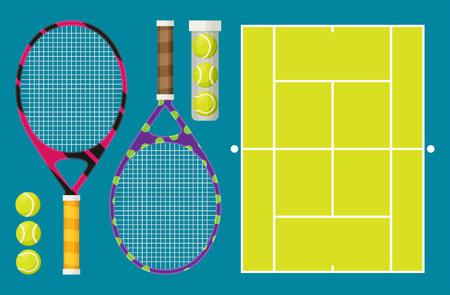 Vector set of tennis rackets and tennis balls
