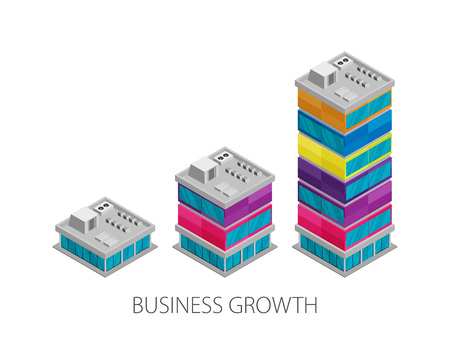 Growth of business. Buildings of company small, middle and big. Flat vector isometric Illustration