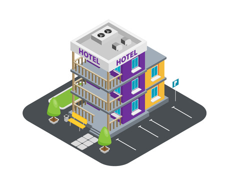 Vector isometric hotel building icon
