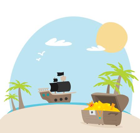 open treasure chest and pirates stuff on a desert island flat design