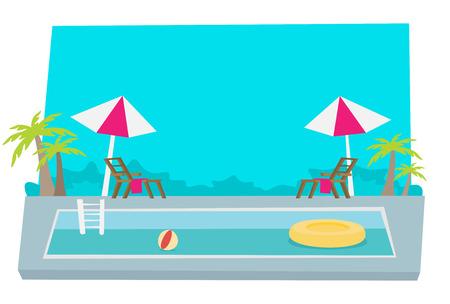Flat vector. Pool Hotel Summer Vacation. Ilustrace