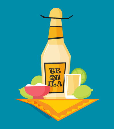 Tequila bottle, salt, lemon. Flat vector. Illustration