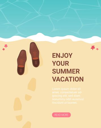 Summer holidays vector illustration,flat design beach and business object concept Illusztráció