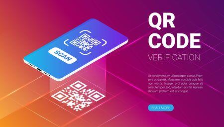 Vector isométrico de banner web de servicio de verificación de código QR