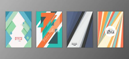 Flat geometric covers design. Colorful modernism. Simple shapes composition. Futuristic patterns Illustration