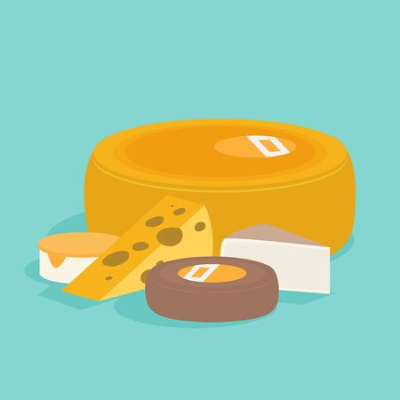 Set of isometric cheese. Flat style vector illustration.