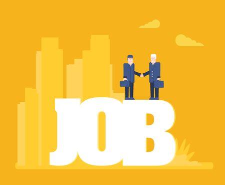 Flat vector illustration, job search, recruitment, workgroup, freelance, web graphic design